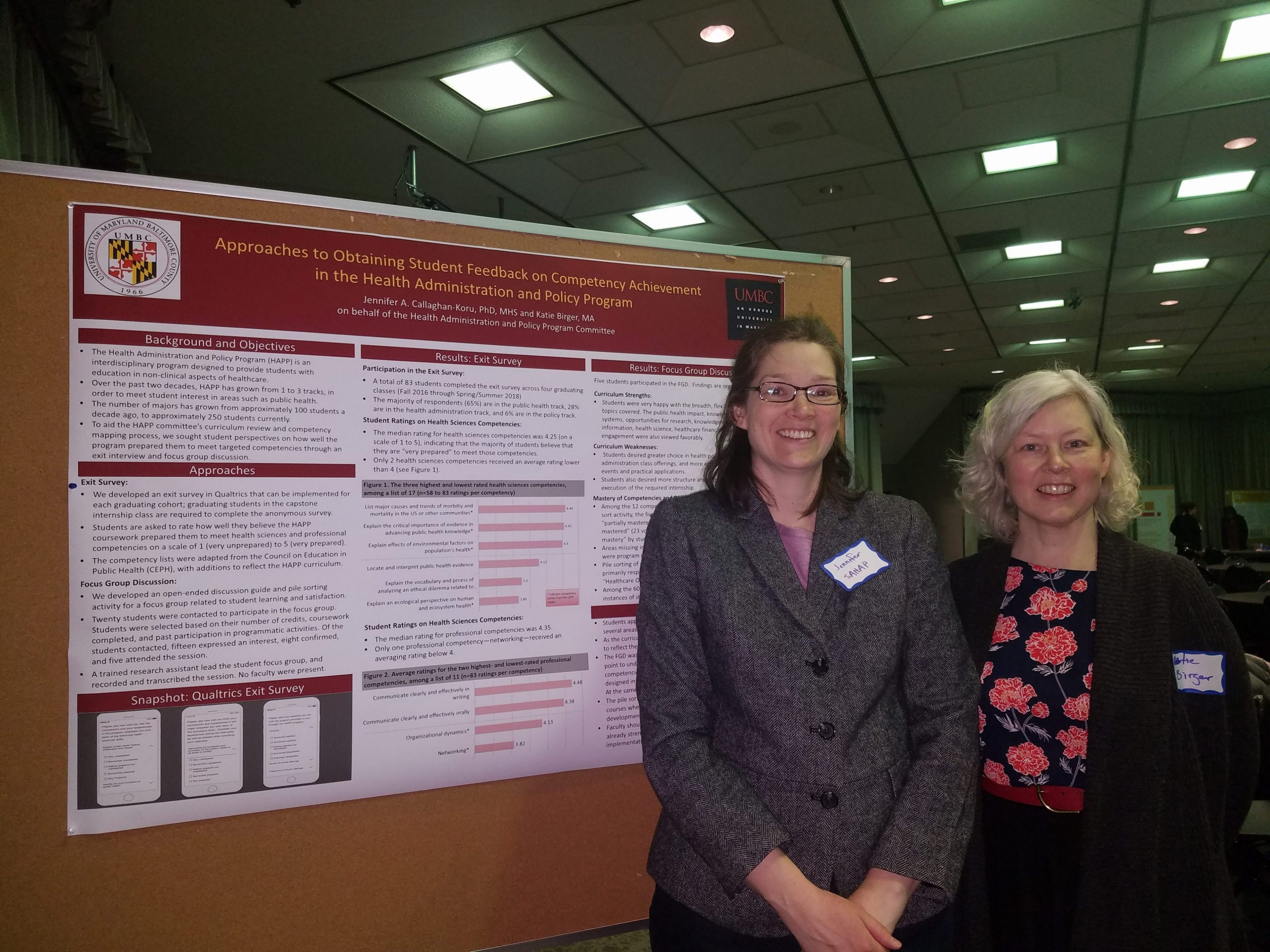 Professors Jennifer Callaghan-Koru and Katie Birger present poster at Teaching and Learning symposium