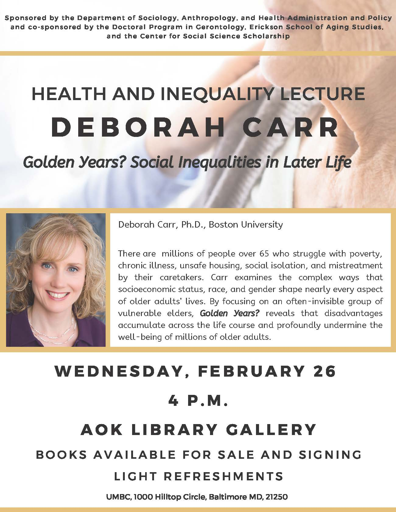 Health and Inequality Lecture on February 26th at 4 PM
