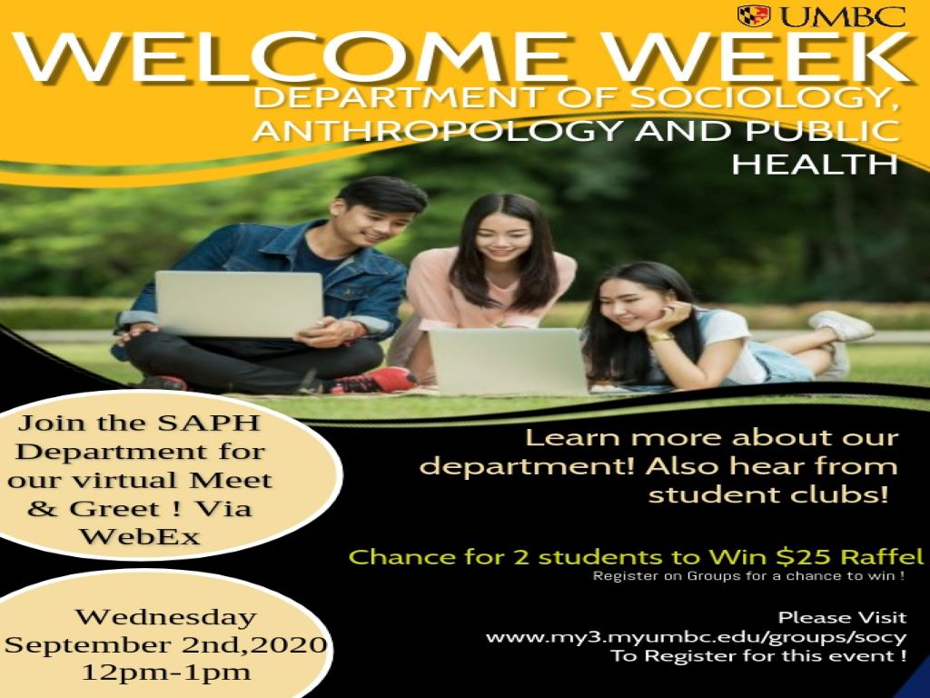 SAPH Department Virtual Meet & Greet on Wednesday, September 2nd from 12 - 1pm